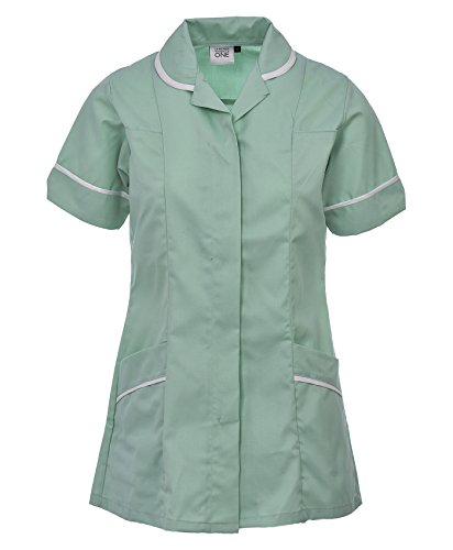 94a93fdc55e96 Womens Healthcare Tunic Round Collar Nurses Uniform Maid Dresses With  Highlighted Trimming SIZE 8 TO 26 (12, MINT GREEN). by first uniform  solutions