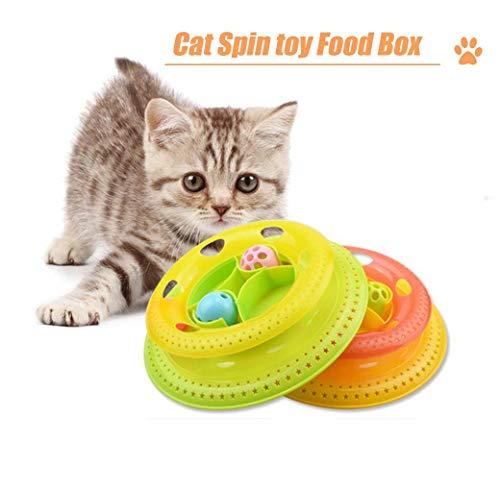 Huaaag Cat Giradischi, Cat Cibo Box, Pet Cat Giradischi Gatto Interattivo Giocattolo Divertente Giradischi Smart Track, Cat Multi-Layered Rotazione Alimentare Box,Orange