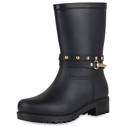 SCARPE VITA Women Wellington Boots Rivets Metallic