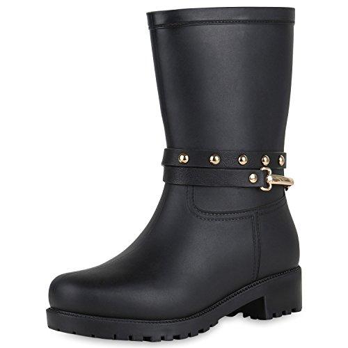 SCARPE VITA Damen Stiefel Blockabsatz Gummistiefel Leder-Optik Schuhe Nieten 150941 Schwarz 40