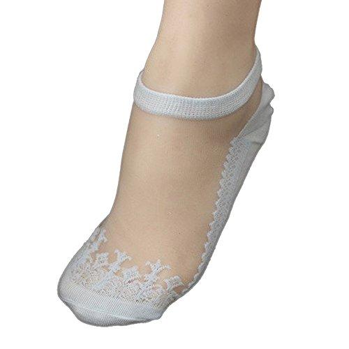 KPILP 1 Paar Damen Sneakersocken Weiche Ultradünne Transparente Strümpfe Elegante Schöne Kristallspitze Elastische Kurze Socken Freizeitsocken,Hellblau - Netzstrumpfhose Neon-grün