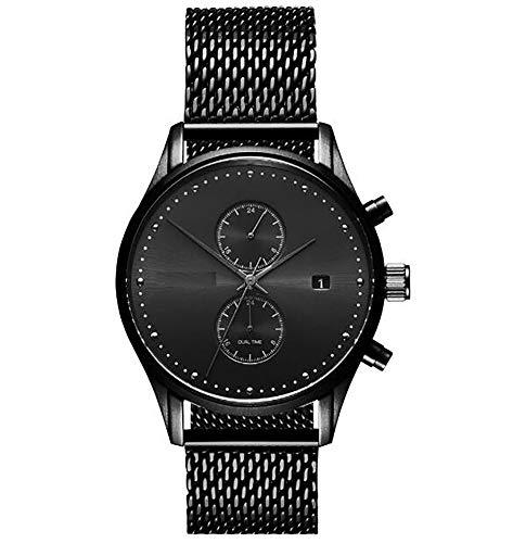Armbanduhren,Stilvolle Prägnante Trendige Großzügige Herrenquarzuhren Runde 2-Augen-Persönlichkeitsuhren Black Shell Black Reticulated Belt -