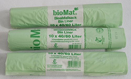 Biomat Sac compostable pour déchets organiques Différentes tailles 10 x 40/60 l