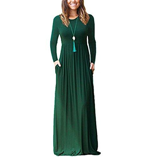 Damen Lange Kleider Langarm lose Plain Maxi Kleider Casual mit Taschen (Kleid Maxi Casual)