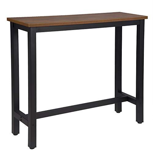 WOLTU BT17dc 1x Bartisch Bistrotisch Stehtisch Esstisch, Metallgestell, Tischplatte aus MDF, Dunkelbuche, 120x40x100cm(BxTxH)