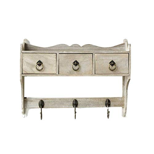 Shelf American Craft Partition Rack, Wandregal mit 3 Haken, Float Wandregal Lagerung mit 3 Schubladen, kreative Garten Dekoration Hall Entrance Coat Hook - Haken Mit Coat Regal Rack