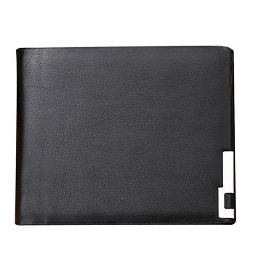 Internet Hommes ultra-mince en cuir PU Porte-monnaie en cuir portefeuille bifold 12cm x 10cm (Noir)