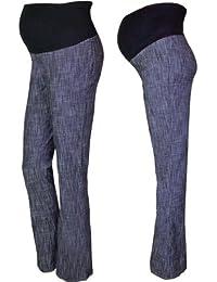 Pink Pixie - Pantalones de maternidad para encima de la barriga, estilo de tela vaquera, pernera larga