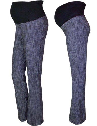 Pink Pixie - Pantalones de maternidad para encima de la barriga, estilo de tela vaquera, pernera larga negro azul 44