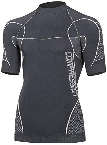 Freenord compression mid tecnica da uomo, termico, traspirante, base layer a maniche corte outdoor ciclismo running (grigio, m)
