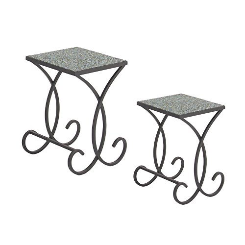 Urban Designs 7712124 Emerald Square Mosaic Nested Accent Tables - Set of 2 Emerald