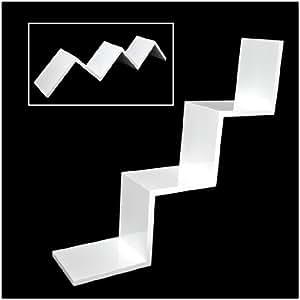 """Étagère """"zigzag"""" design rétro CD DVD étagère murale en Blanc brillant laqué"""
