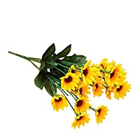 Amesii 1 Bouquet 15 Heads 7 Branches Artificial Faux Silk Sunflower Home Party Decor - Yellow