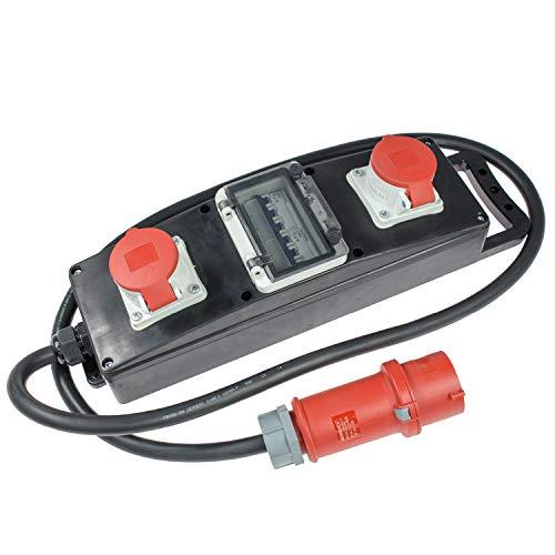 as - Schwabe Stromverteiler Vollgummi-Steckdosenleiste S10+ - Baustellen-Leiste mit 5-poligem CEE-Stecker 400 V, 32 A auf 2 x 5-poliger CEE-Steckdosen 400 V, 16 A - IP44 - Made in EU - Schwarz I 60806