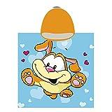 Fansu Asciugamano da Bagno con Cappuccio per Bambini, Accappatoio Microfibra Asciugamani Assorbenti Morbido Senza Maniche Poncho Spiaggia Coperta Bambine Ragazzo (65 * 135cm,Cucciolo Arancione)