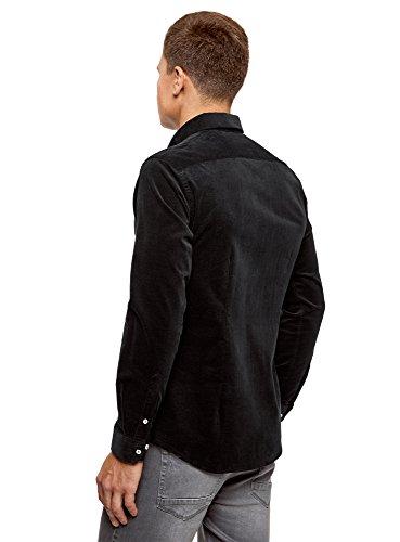 oodji Ultra Herren Hemd Slim Fit Aus Kord Schwarz (2900N)