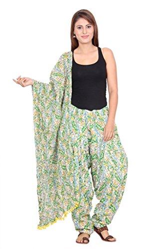 Rama Printed Green Colour Free Size Cotton Fabric Full Patiala and Dupatta Set