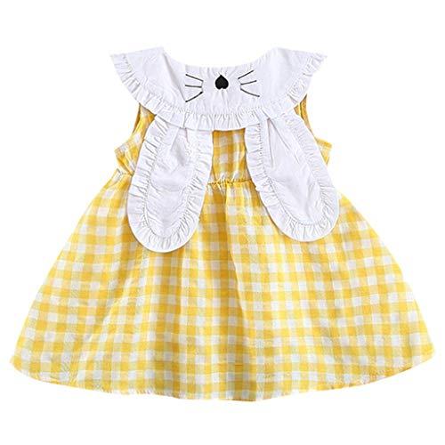 g Baby Mädchen Kleid Sommerkleid Ärmelloses Kariertes Kaninchen Häschen Ohr Prinzessin Kleider Mädchen Kleidung Trainingsanzug ()