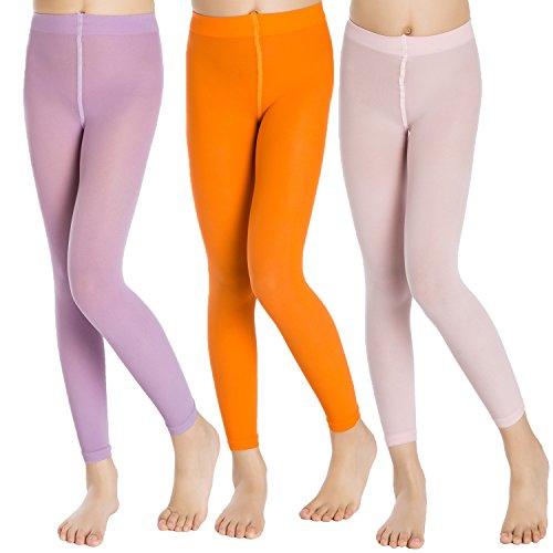 Aaronano 3 Paare Mädchen Leggings Ballett Tanzstrümpfe Footless Strumpfhosen 40 Denier Alter 1-13