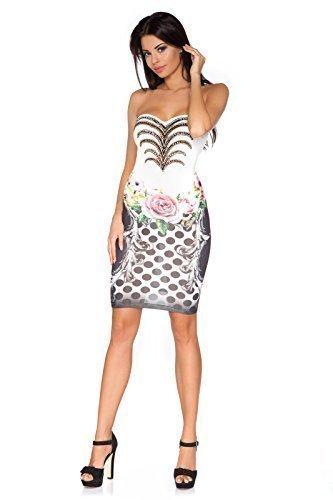 Futuro Fashion - Robe courte moulante ajustée sans bretelles motif floral avec sequins collection exclusive FC1447 Noir