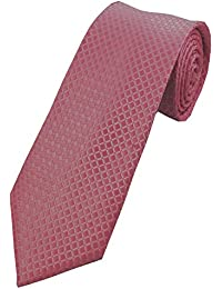 COLLAR AND CUFFS LONDON - HIGH QUALITY Handmade Tie - A Colourful Twin Square Pattern - Salmon Pink and Rose Pink