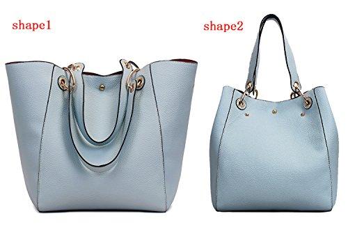 Tibes Moda spalla sacchetto impermeabile borsetta di pelle sintetica B Azzurro