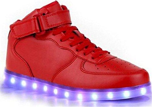 [Présents:petite serviette]JUNGLEST® Unisexe Homme Femme USB Charge LED Lumière Lumineux Clignotants Chaussures de marche Chaussures de Sports Baskets LED High Rouge