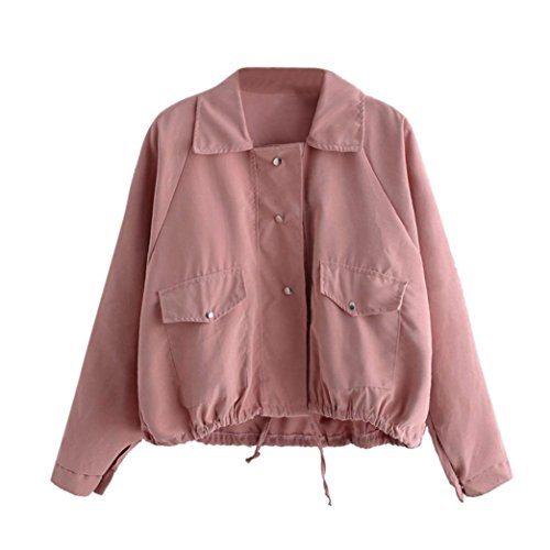 Internet Damen Herbstmode kurze rosa Knopf Mantel Tasche Jacke Strickjacke (L, - Jacke Damen Rosa Mädchen
