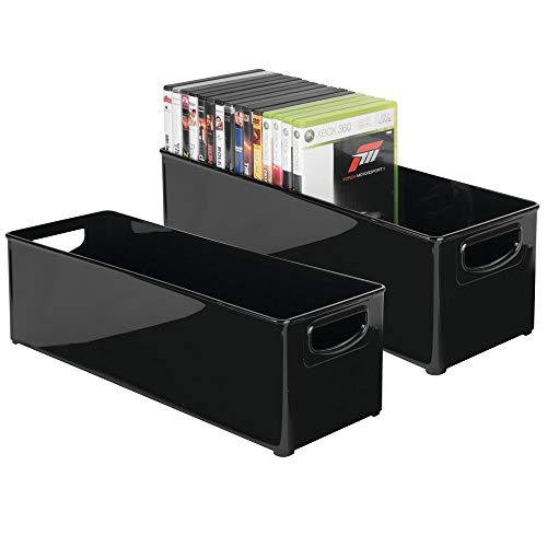 Stapelbar Dvd (mDesign 2er-Set stapelbare DVD-Aufbewahrungsbox mit Griff - Aufbewahrungssystem mit Griff für DVDs, CDs und Videospiele - Aufbewahrungsbox Kunststoff - schwarz)