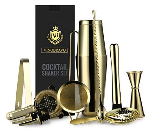 11-Teiliges Boston Cocktailshaker/Cocktail Mixer Set von VinoBravo: 2 gewichtete Cocktail Shaker, Barsieb-Set, Doppeljigger, Barlöffel, Barstößel & Tong, 2 Spirituosenausgießer & Cocktailrezeptbuch