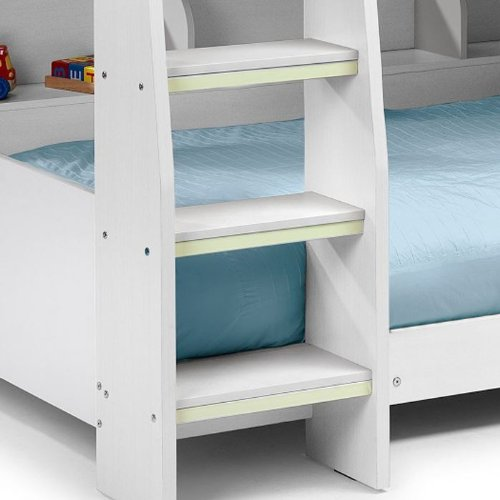 Happy Beds Domino White Finished Sleep Station Childrens Kids Bunk Bed 3' Single With 2x Pocket Spring Mattress