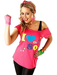 Rubies 880873 I Love The 80s Womens Fancy Dress T-Shirt Pink - small