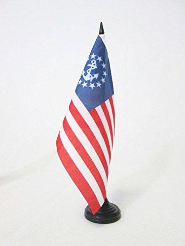 AZ FLAG TISCHFLAGGE USA JACHT Ensign 21x14cm - VEREINIGTEN Staaten VON Amerika TISCHFAHNE 14 x 21 cm - flaggen