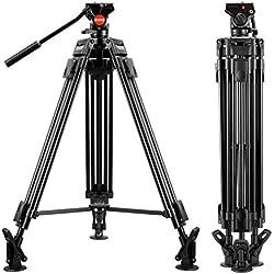 Trépied vidéo - ESDDI VT-60 1,62m- Trépied de Prise de Vue Professionnel en Aluminium Robuste avec tête Fluide, Chargement Maximum 5Kg, caméscope DSLR, Poids : 3.95Kg
