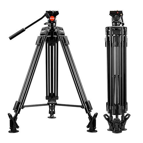 ESDDI Video Stativ 64 inch/162 cm VT-60 Professionelles Schwerlaststativ Aluminium Stativ mit Fluid Videoneiger, maximale Last 17.6 Lbs/8 Kg, DSLR, Videokamera, Gewicht: 8.7 Lbs/3.95 Kg - Fluidkopf Video-stativ