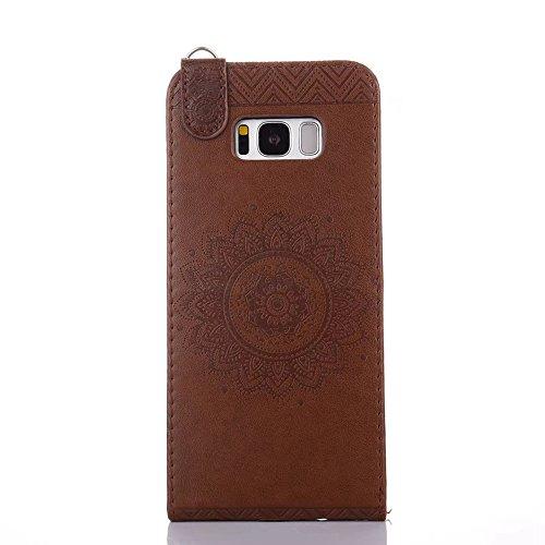 Vertikale Flip Stand Case Brieftasche Pouch Style Cover mit geprägten Blumen Blumen & Lanyard & Card Slots für Samsung Galaxy S8 Plus ( Color : Pink ) Coffee