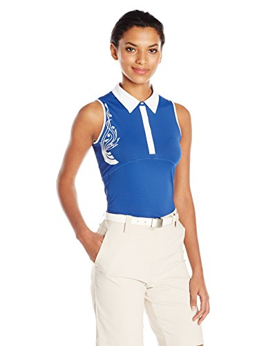 Cutter & Buck Damen Poloshirt, feuchtigkeitsableitend, UPF 50+, ärmellos - Blau - X-Klein (Dri-fit-sleeveless Tee)