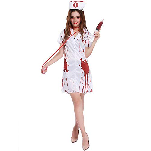 Blutige T Shirt Kostüm - GLXQIJ Blutrünstige Tote Zombie-Krankenschwester-Blutiges T-Shirt-Halloween-Abendkleid-Kostüm-Ausstattung, Mit