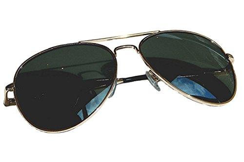 Aviator Brille Pilotenbrille Pornobrille Sonnenbrille Fliegerbrille TOP GUN (Gold Grün G 1)