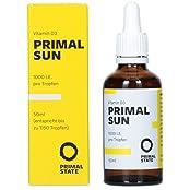 Vitamin D Tropfen PRIMAL SUN | In Kokosöl gelöst | Unabhängig zertifiziertes Vitamin D3 | Hohe Bioverfügbarkeit | Hochdosierte 1000 I.E. je Tropfen | 1165 Tropfen