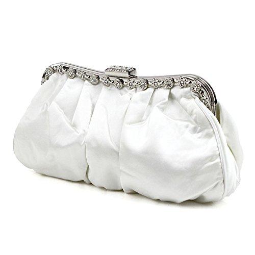 Womens Frizione Pieghe -Studded Sposa Ball Prom Frizione Portafoglio Borsa White