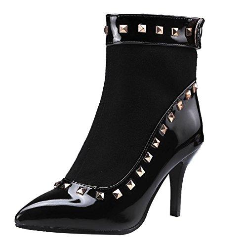 Con Rivetti Stivali Tacchi Uh Donna Medio E Aguzza Elegante Punta Nero Caviglia Sexy Da S8wSfAxqz