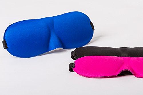 Komfort Schlafmaske ++verschiedene Farben++ 3D, Lichtdicht, Schlafen Sie weich und bequem, verschiedene Farben, Für Sie und Ihn, Blau, Schwarz und Pink, für vollkommenen Schlafkomfort (Schwarz)