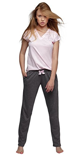 SENSIS stillvoller Baumwoll-Pyjama Schlafanzug Hausanzug aus feinem kurzarm T-Shirt und bequemer Hose, rosa, Gr. L (40) (Pyjama Hose Damen)