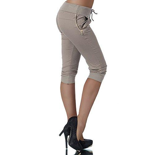 H967 Damen Chino Harem Hose Stoffhose Capri Bermuda Sommerhose Boyfriend Shorts Coffee