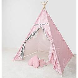 [TENTE DE JEU TIPI POUR LES ENFANTS] - WigWam pour utilisation en intérieur et en extérieur - toile de coton naturelle et bois - 140 x 120 x 120 cm - maisonnette verrouillable avec fenêtres - rose