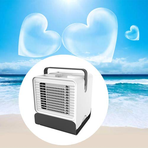 JJ.Accessory Klimaanlage Portable Mini Air Conditioner USB Rechargeable mit LED Night Light, Small Cooling Fan für Home Office Schlafsaal