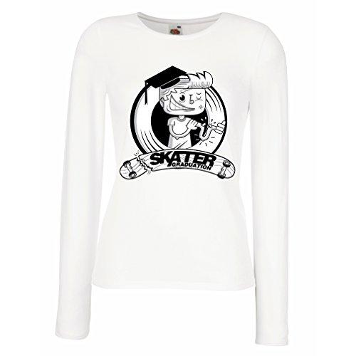 Weibliche Langen Ärmeln T-Shirt Professionelle Skate-Akademie Graduierung - Für Skater - Skateboard - Longboard, Geschenke für den Skater (X-Large Weiß Mehrfarben)