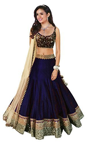Florence Women\'s Banglori Silk Semi-stitched Gown (Navy Blue, Free Size)