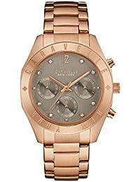 Caravelle New York Oro Rosa Gris Boyfriend–Reloj de cuarzo para mujer con cronógrafo y oro rosa pulsera 44l190